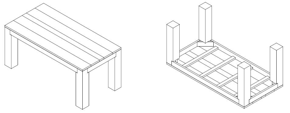 steigerhouten tafel bouwtekening