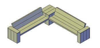 Een bouwtekening van een bank van steigerhout