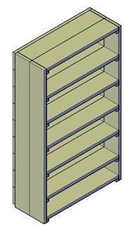 Een bouwtekening van een boekenkast met meerdere planken