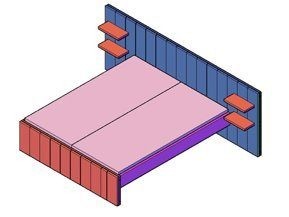 Een bouwtekening van een bed van steigerhout