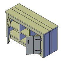 Een bouwtekening van een dressoir met deurtjes