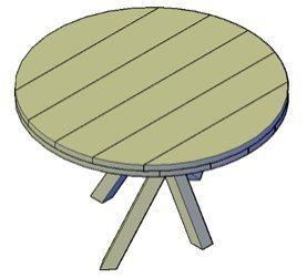 Een bouwtekening van een ronde eettafel