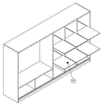 Een bouwtekening van een kast gemaakt van MDF