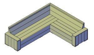 Een bouwtekening van een hoekbank van steigerhout