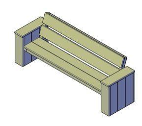 Een bouwtekening van een houten bank