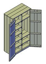 Een bouwtekening van een kledingkast met openslaande deuren